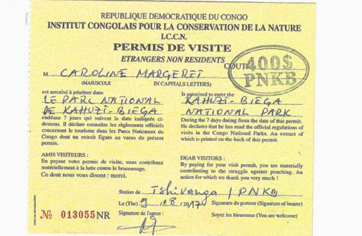 Gorilla Trekking Permits Congo